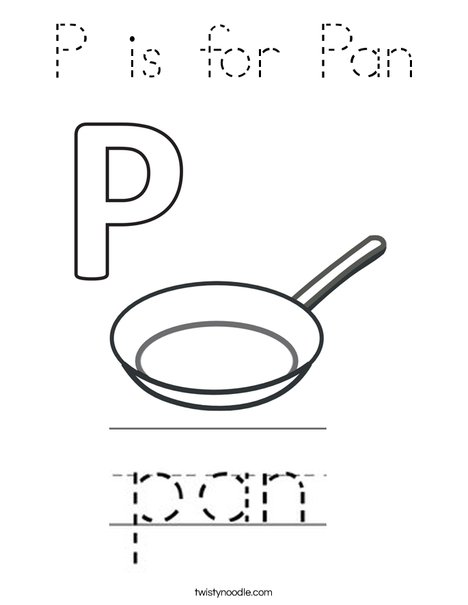 P is for Pan Coloring Page