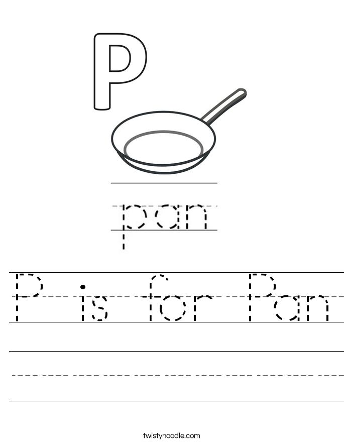 P is for Pan Worksheet