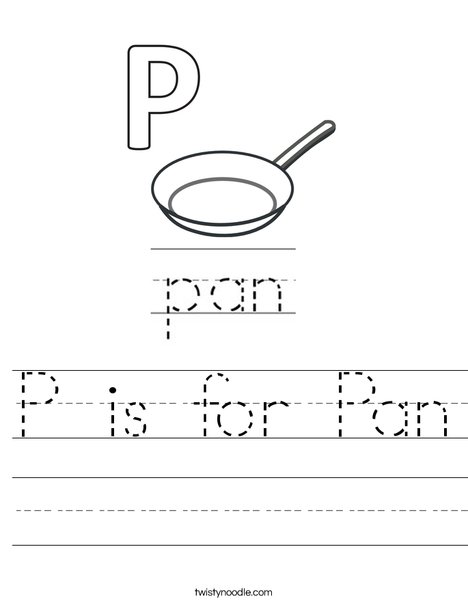 P is for Pan Worksheet