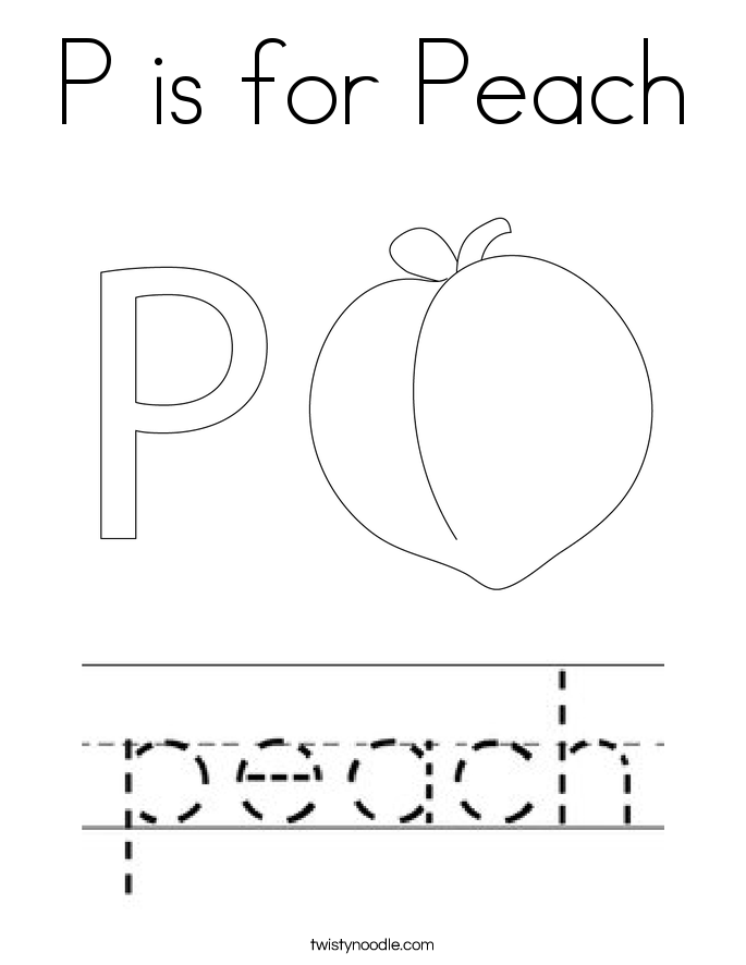 P is for Peach Coloring Page