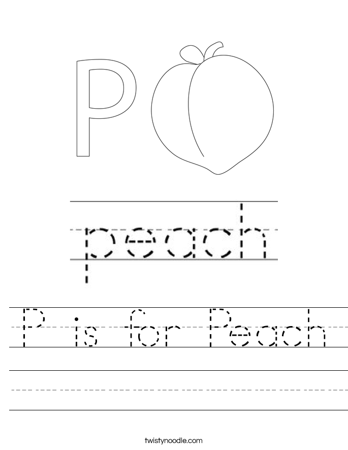 P is for Peach Worksheet