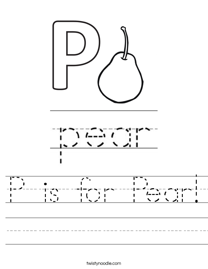 P is for Pear! Worksheet