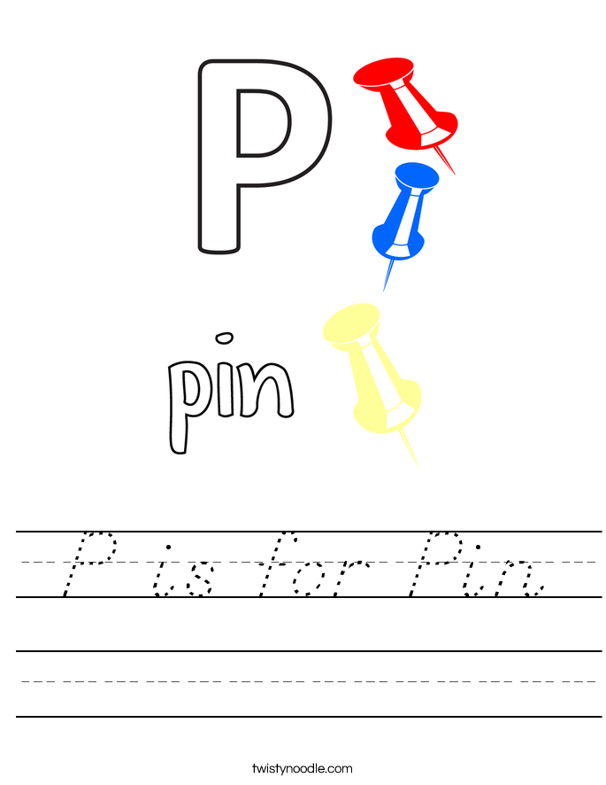 P is for Pin Worksheet