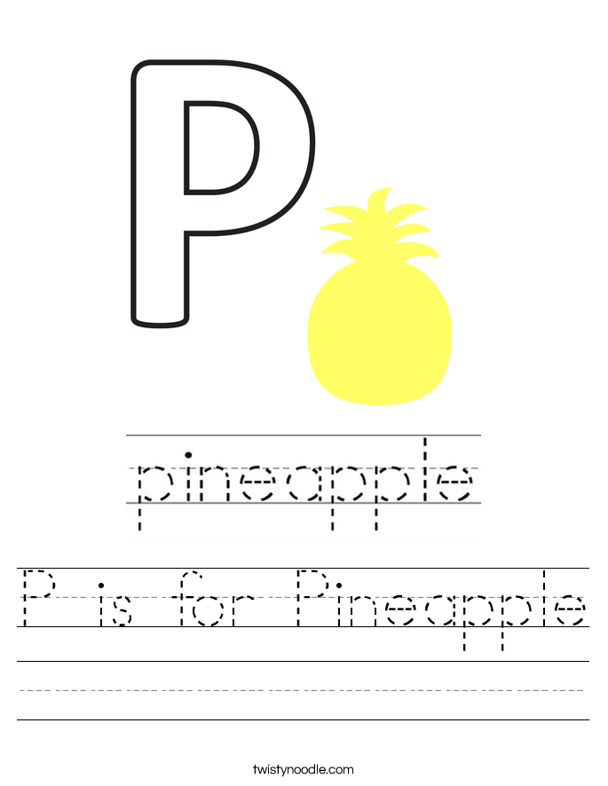 P is for Pineapple Worksheet