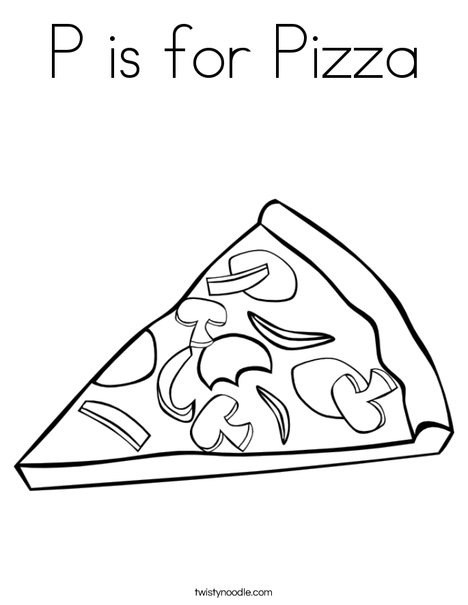 p is for pizza coloring page - Pizza Coloring Pages
