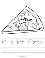 P is for Pizza Handwriting Sheet