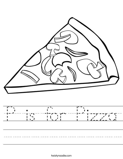 P Is For Pizza 5 Worksheet on Letter P In Cursive