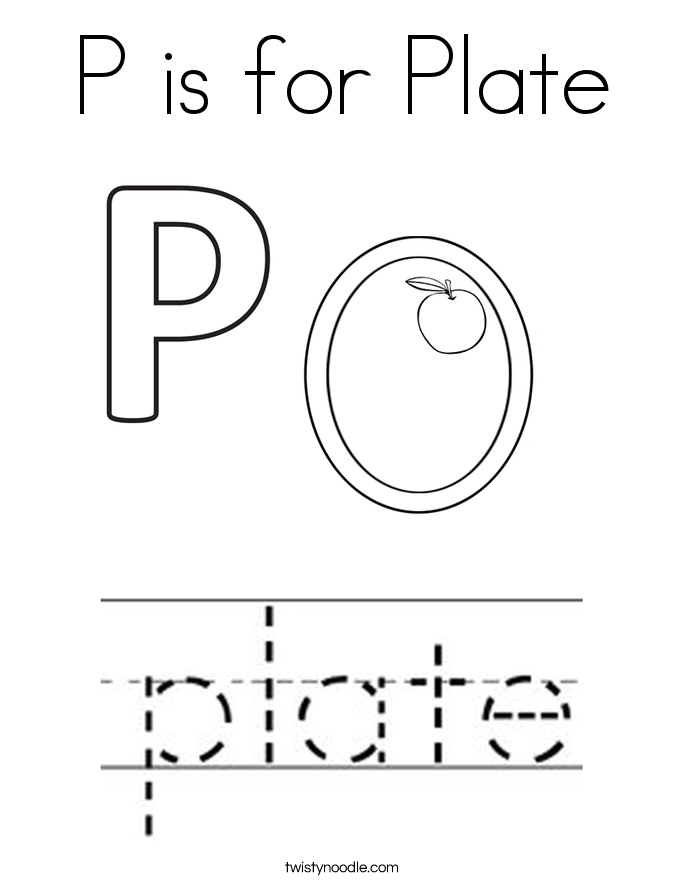 P is for Plate Coloring Page