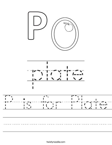 P is for Plate Worksheet