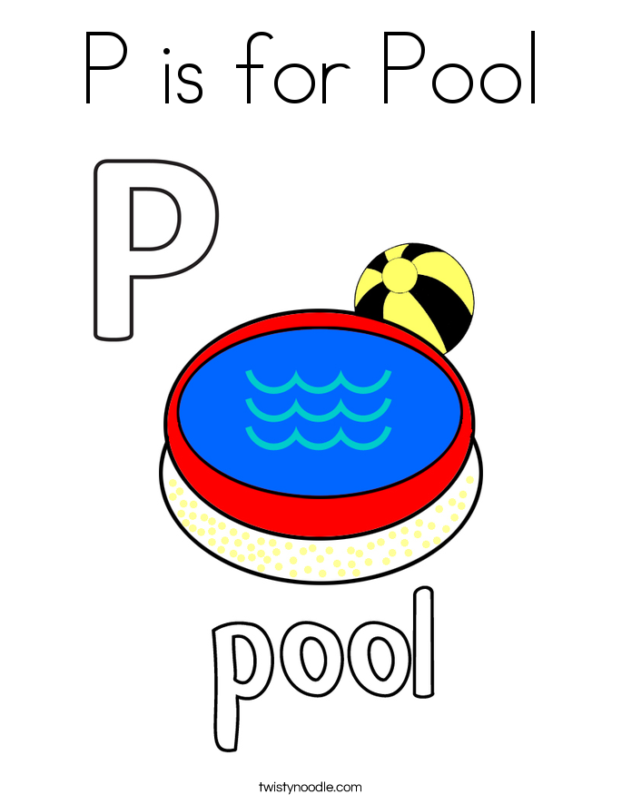 P is for Pool Coloring Page