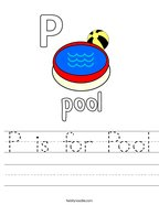 P is for Pool Handwriting Sheet