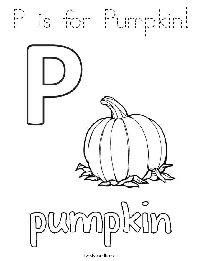 P is for Pumpkin! Coloring Page