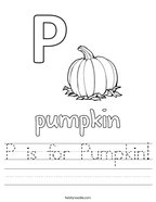 P is for Pumpkin Handwriting Sheet