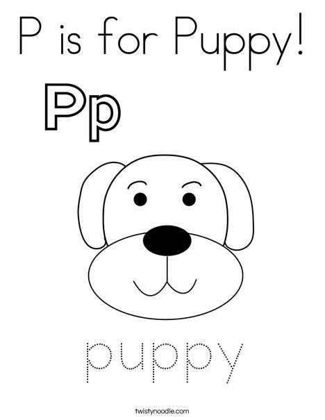 P is for Puppy Coloring Page - Twisty Noodle