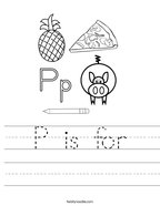 P is for Handwriting Sheet