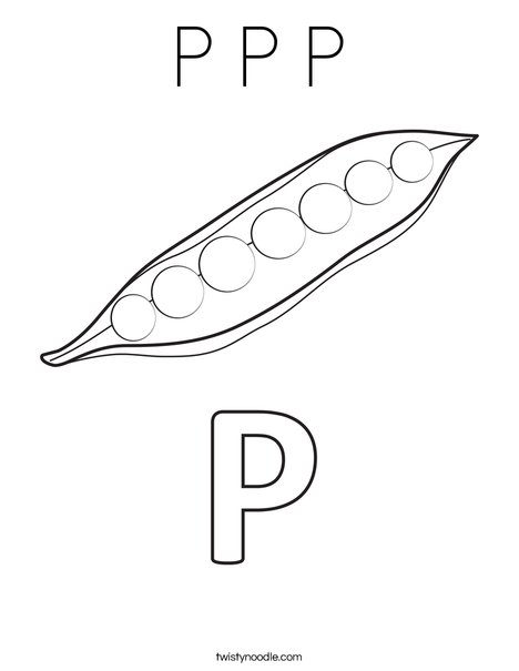 P Peas Coloring Page