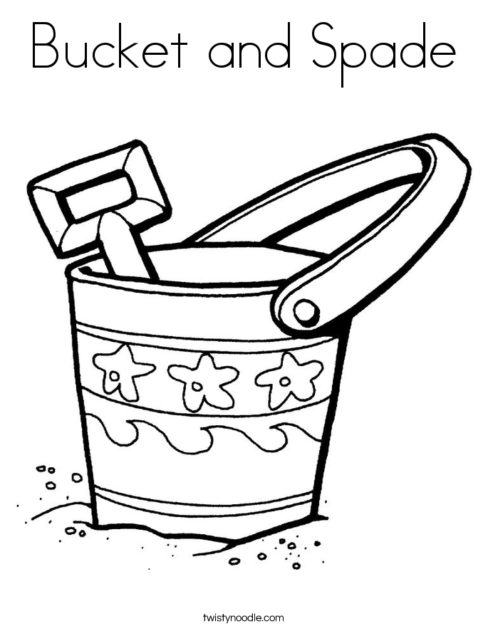 Bucket And Spade Coloring Page on D In Cursive