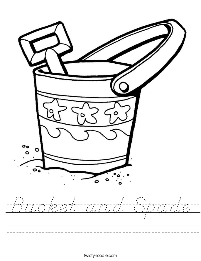 Bucket and Spade Worksheet