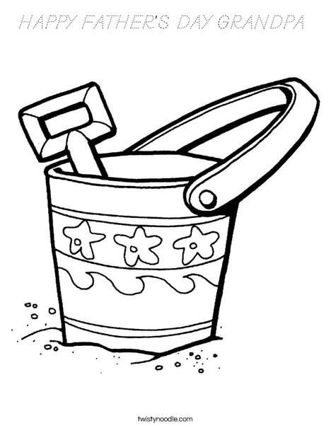 Pail and Shovel Coloring Page