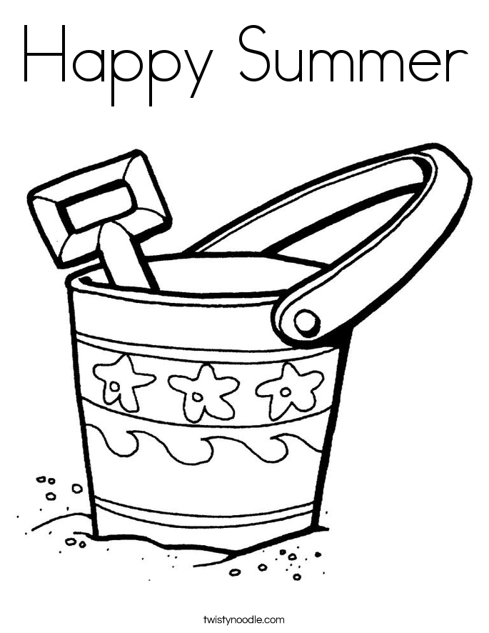 Happy Summer Coloring Page - Twisty Noodle