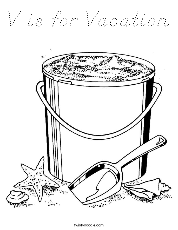 V is for Vacation Coloring Page