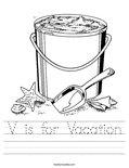 V is for Vacation Worksheet