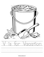 V is for Vacation Handwriting Sheet