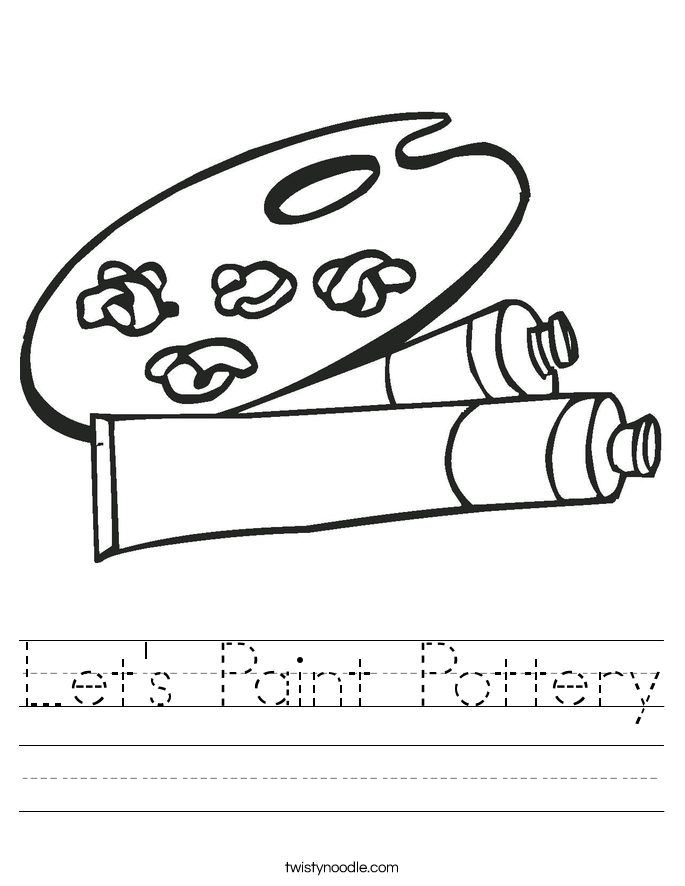 Let's Paint Pottery Worksheet