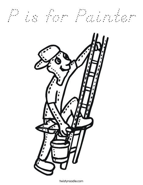 Painter on Ladder Coloring Page