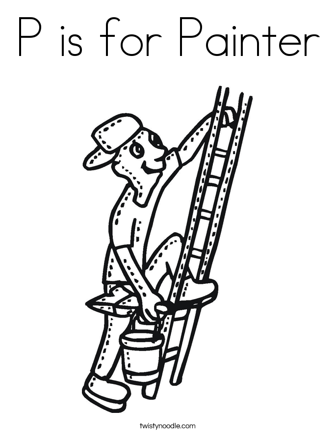 P is for Painter Coloring Page