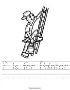 P is for Painter Handwriting Sheet