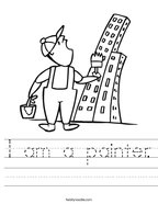 I am a painter Handwriting Sheet