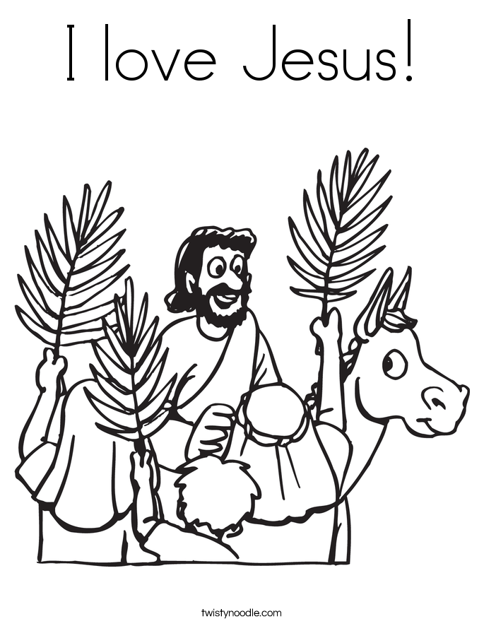 I love jesus coloring page twisty noodle for Palm sunday coloring page