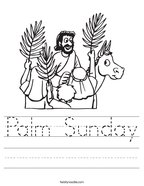 Palm Sunday Handwriting Sheet