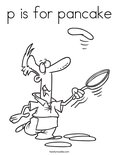 p is for pancakeColoring Page