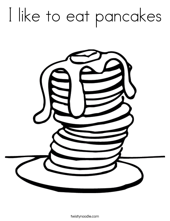 I like to eat pancakes Coloring Page