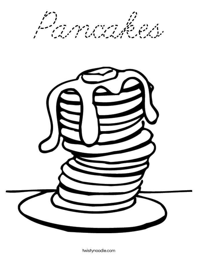 Pancakes Coloring Page Cursive Twisty Noodle Twisty Noodle Coloring Pages