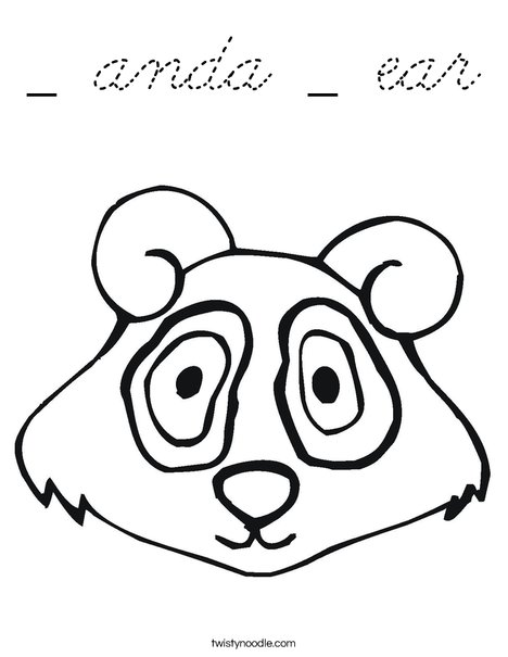 Anda ear coloring page cursive twisty noodle for Bear head coloring page