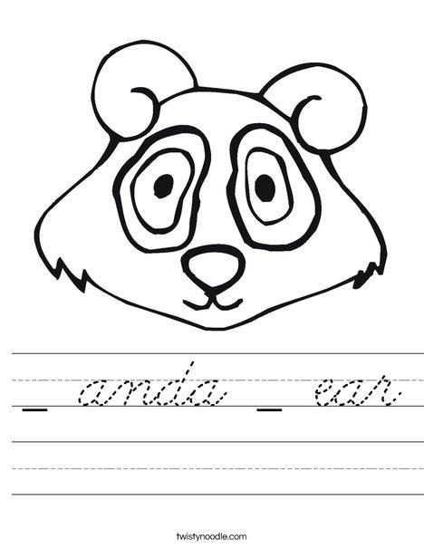 Panda Bear Head Worksheet