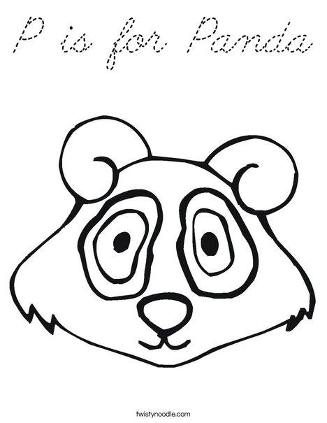 Panda Bear Head Coloring Page