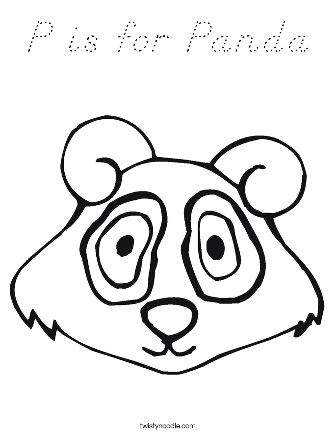 P is for Panda Coloring Page