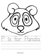 P is for Panda Handwriting Sheet