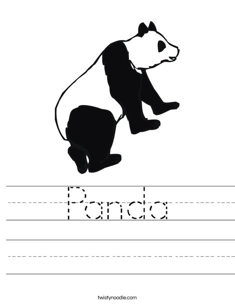 Black and White Panda Bear Worksheet