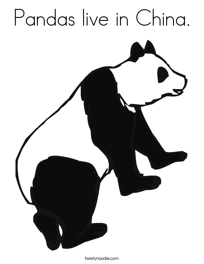Pandas live in China. Coloring Page