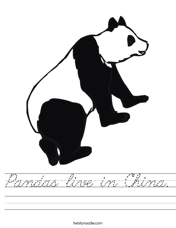 Pandas live in China. Worksheet