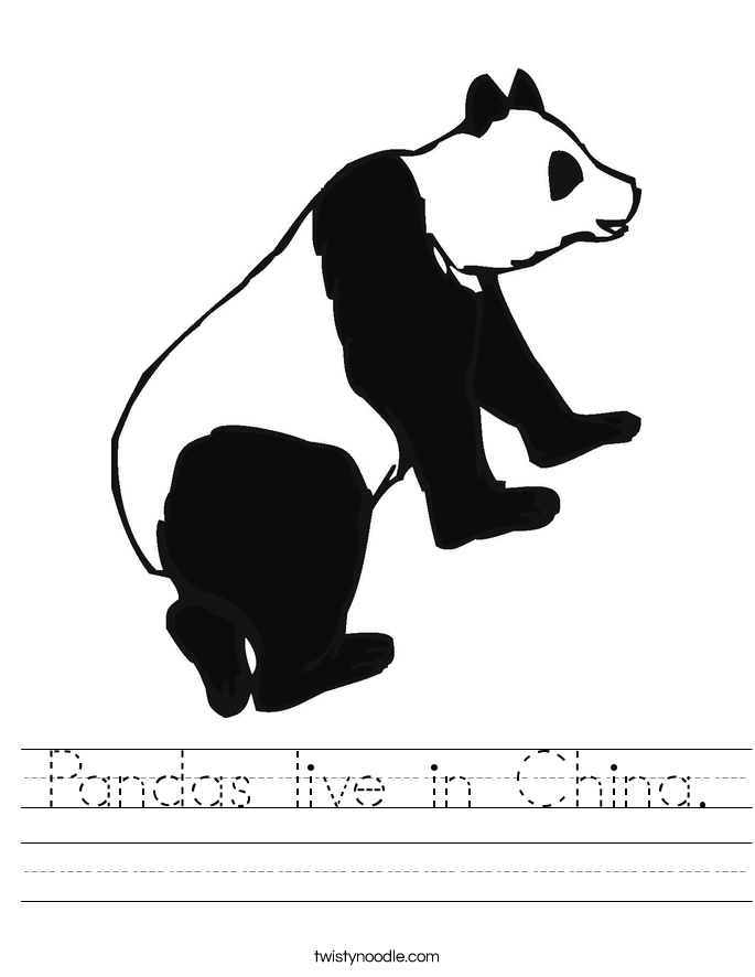 Pandas live in China. Worksheet