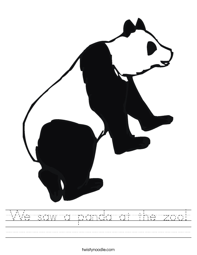 We saw a panda at the zoo! Worksheet