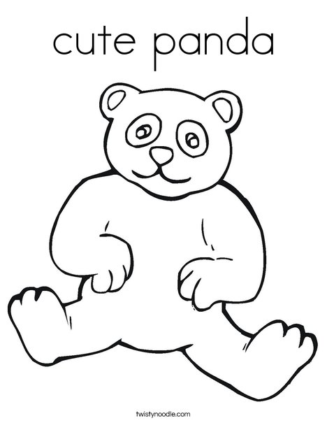 Cute Panda Coloring Page Twisty Noodle