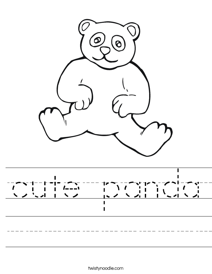 cute panda Worksheet