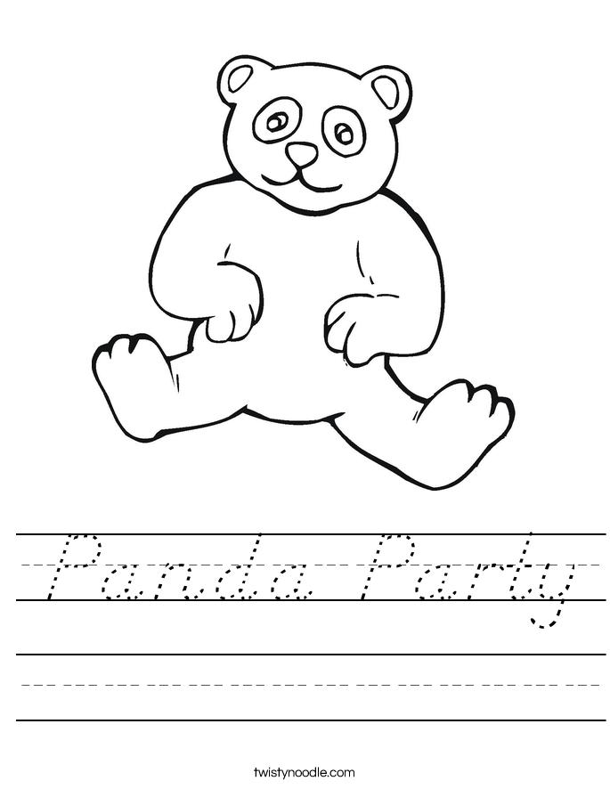 Panda Party Worksheet